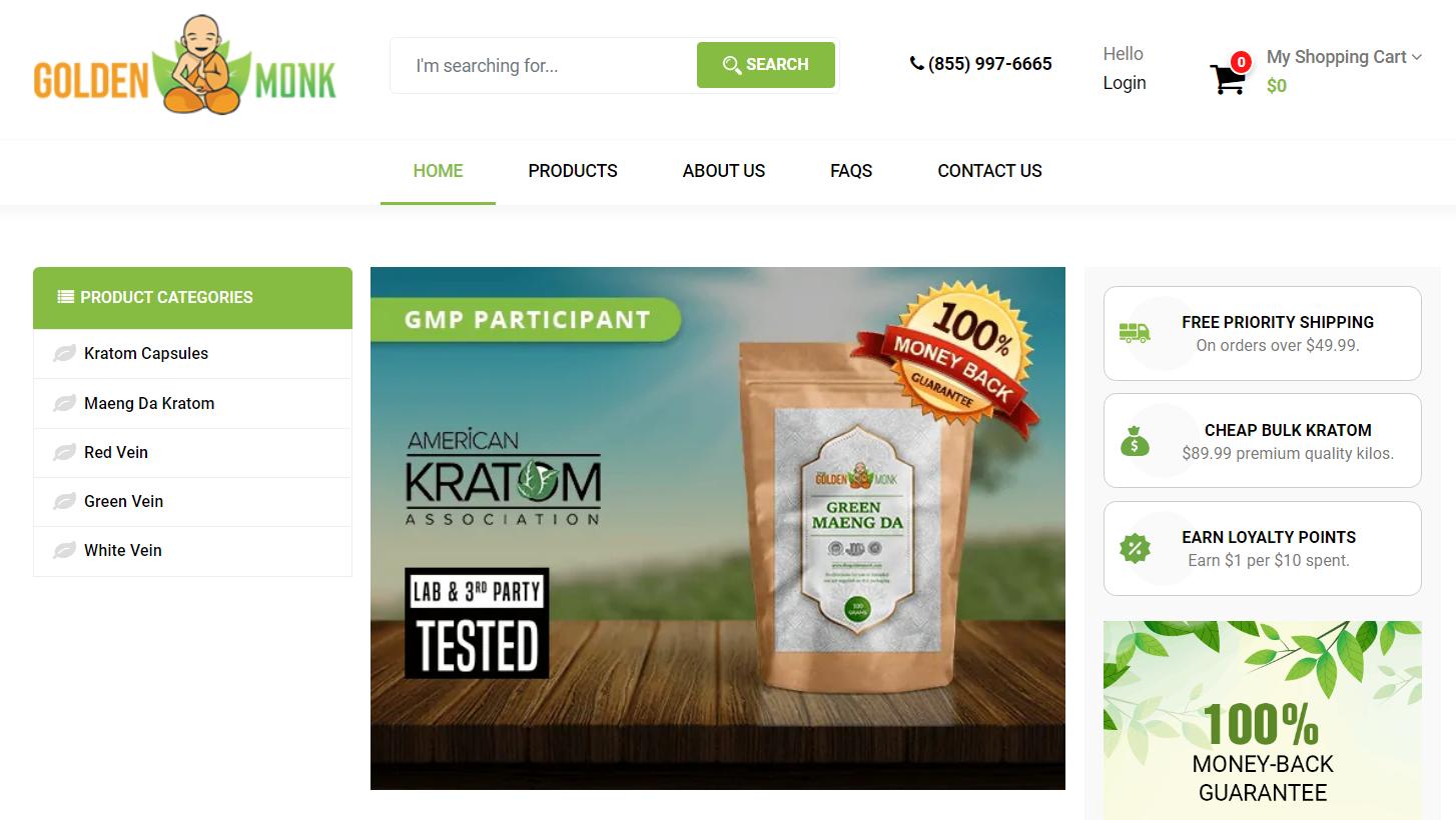 The Golden Monk Best Kratom Vendor Homepage